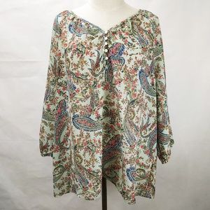 American Living Paisley Peasant Top
